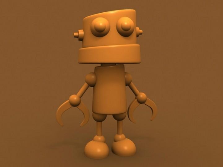 一组迷你机器人的3d打印模型