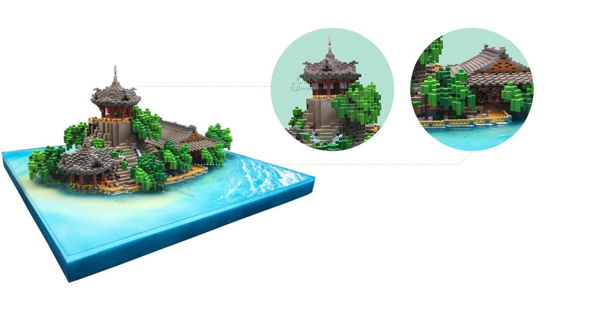 """3D打印《我的世界》""""永乐宫•观澜台""""模型 Minecraft官方礼物"""